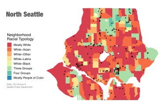 In less dense neighborhoods, where more White residents live, hate crimes occur along the borders of mostly White and racially diverse neighborhoods.
