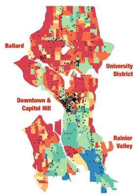 The largest clusters of hate crimes occur in Downtown and Capitol Hill. Smaller Clusters occur the U-District and Ballard—all spaces known for high commuter and visitor traffic.