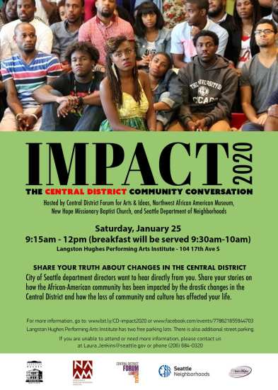 Impact 2020: Central District Community Conversation @ Langston Hughes Performing Arts Institute
