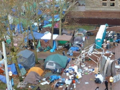 The Occupy camp on Broadway in November 2011