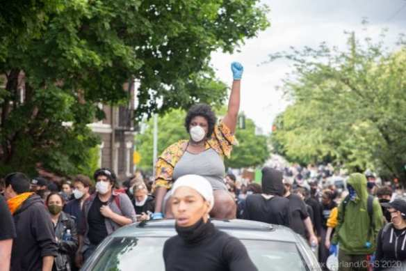 A Black Lives Matter protester on Sunday's third day of demonstrations