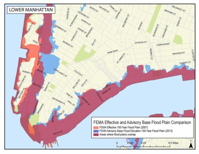This FEMA flood hazard map produced two years ago shows the floodplain delineation for lower Manhattan.