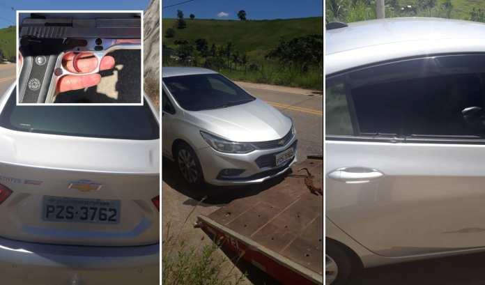 Tiroteio em Marataízes, bandidos perseguidos abandonam carro e fogem para mata