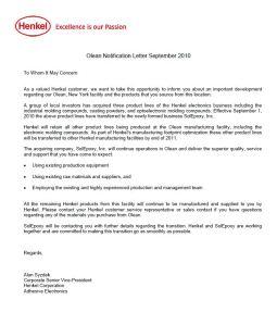 Henkel Letter for Sale to SolEpoxy September 2010