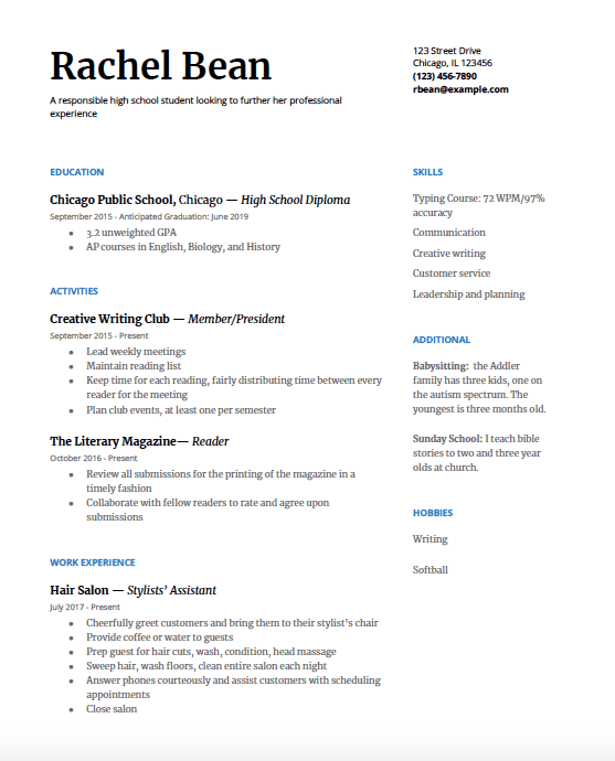 resume writing for highschool students