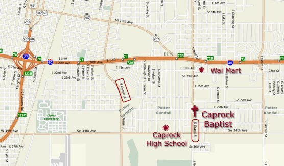 Map to Caprock Baptist Church