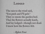 """Lodged"" by Robert Frost 