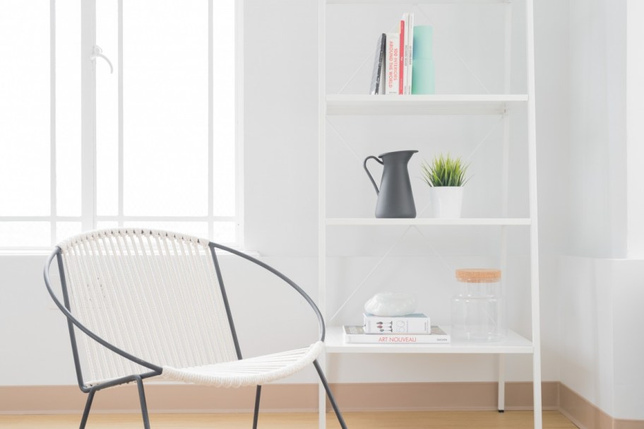 Shelves and chair