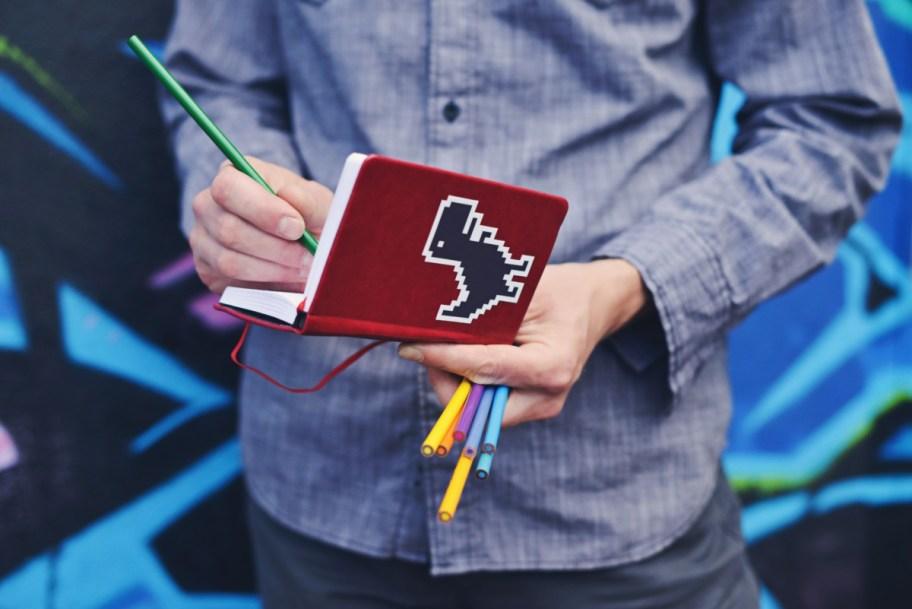 creative notebook pencil