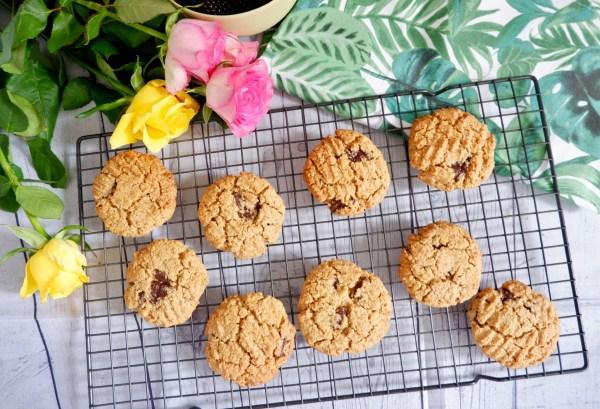 Oat flour tahini choc chip cookies