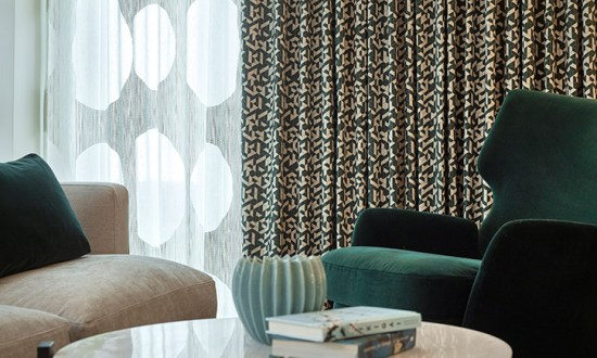 Geometric Patterned Curtain - photo credit Couture Living