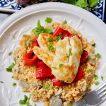 halloumi with bulghur broad beans and sweet red pepper