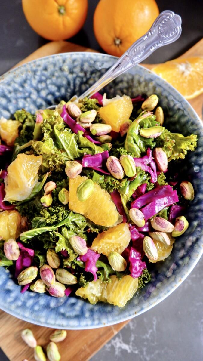 Orange and Kale Salad with Pistachios (Vegan Recipe)
