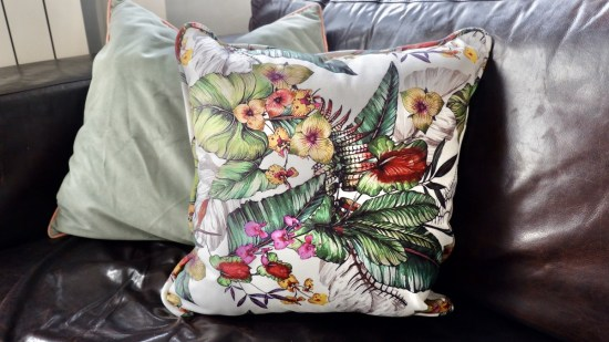 Yorkshire fabric shop cushion: Ethical Christmas Gifts.