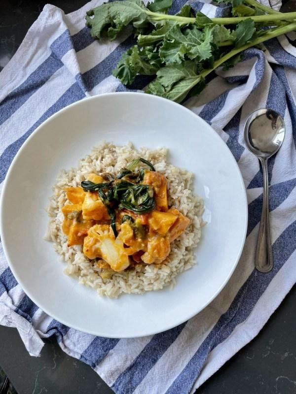 Vegan Thai Sweet Potato, Cauliflower and Wild Garlic Curry Recipe