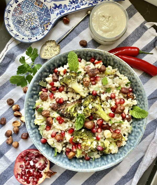 Couscous with Roasted Broccoli and Lemon Tahini