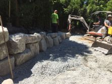 Rock Retaining Wall Installation