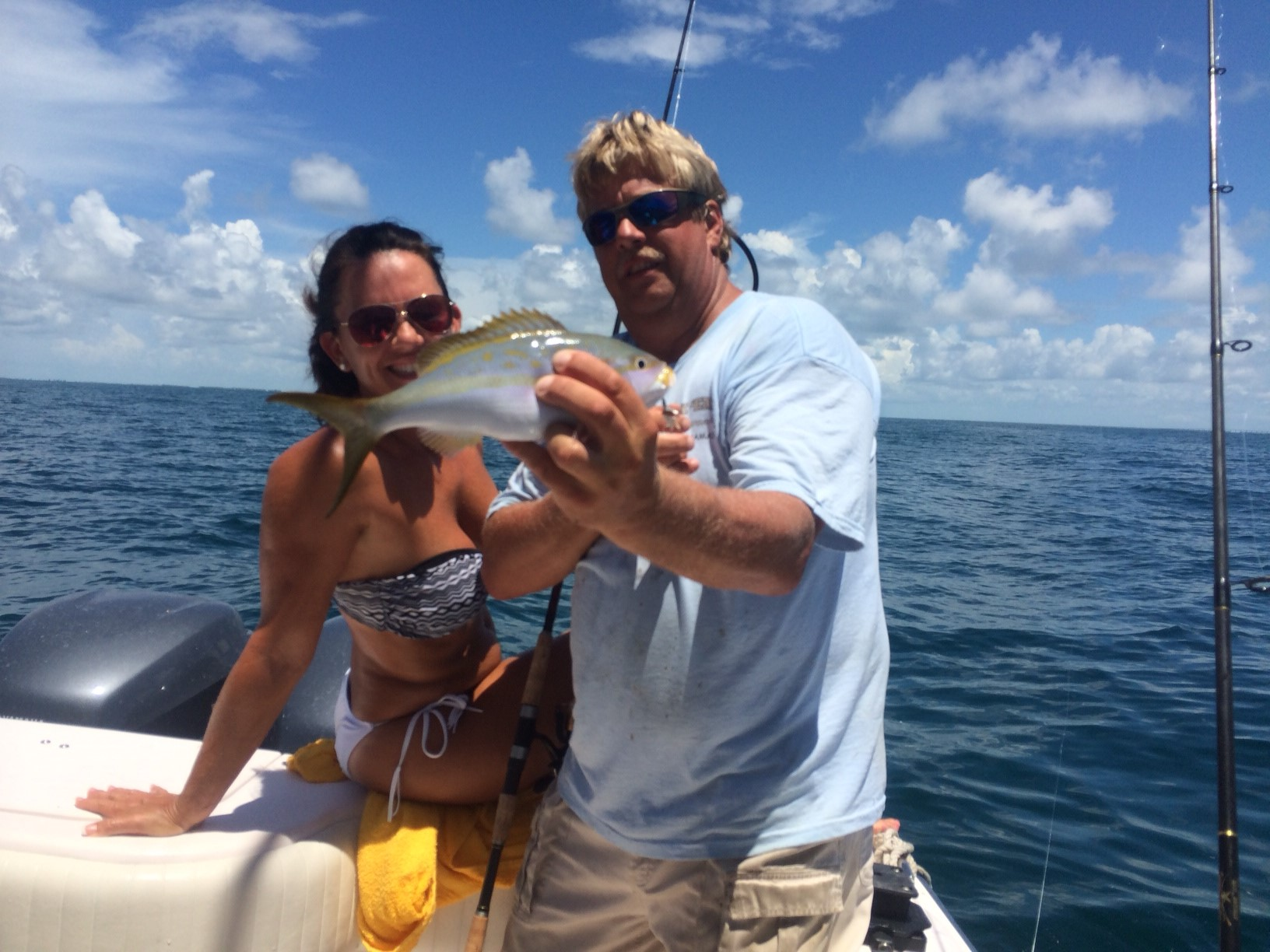Erica's yellowtail snapper caught on a 3/4 day charter off Marathon in the Fl Keys.