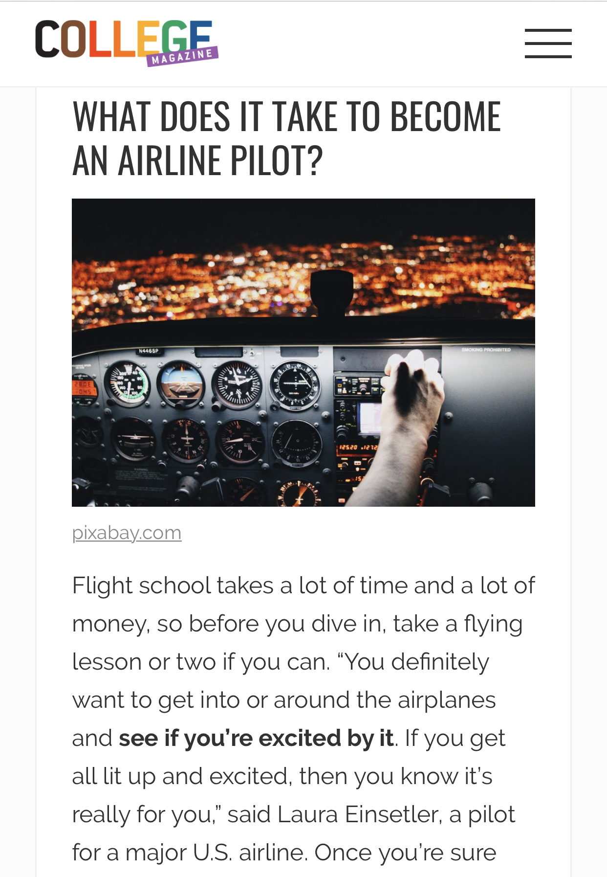 """How to Become a Pilot"" – College Magazine"