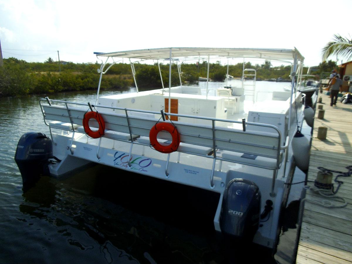 Custom 40ft Pontoon Boat  Captain Sharks Belize Marine
