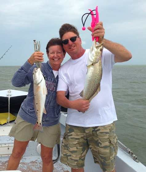 Huge Sea Trout and a nice Redfish caught off Buck Key oyster bar on Sanibel & Captiva charters!