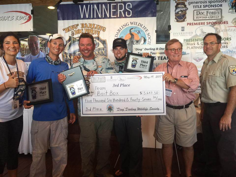 """Team Bait Box Sanibel, 3rd Place, 6th Annual """"Ding"""" Darling & Doc Ford's Tarpon Tournament & Takes Home $5,647.50, Saturday, May 20, Captiva Island. Photo Courtesy Of """"Ding"""" Darling & Doc Ford's Tarpon Tournament."""