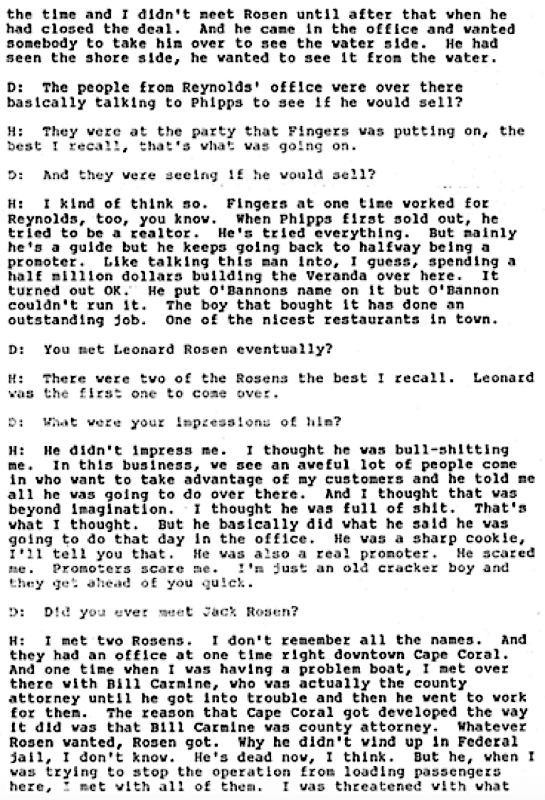 May of 1989. David Dodrill is interviewing Edward Hansen, the dock master of the Fort Myers Yacht Basin. Fingers O'Bannon, Lee County Oral History Archives, University of Florida, Page #3.