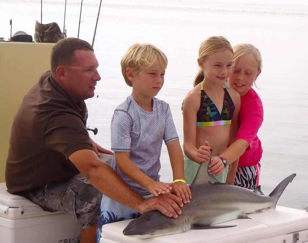 Blacktip Shark & Children, Catch & Release, Sanibel Fishing & Captiva Fishing, Sanibel Island, Sunday, July 16, 2017.