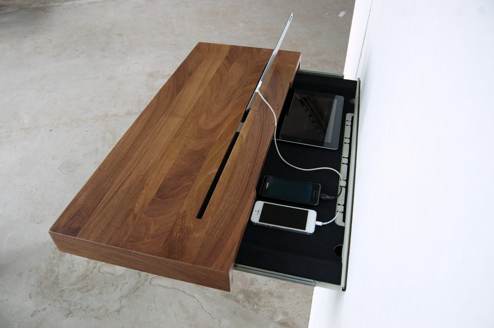 Secret Storage Smart Device Charging Shelf Hides Cords