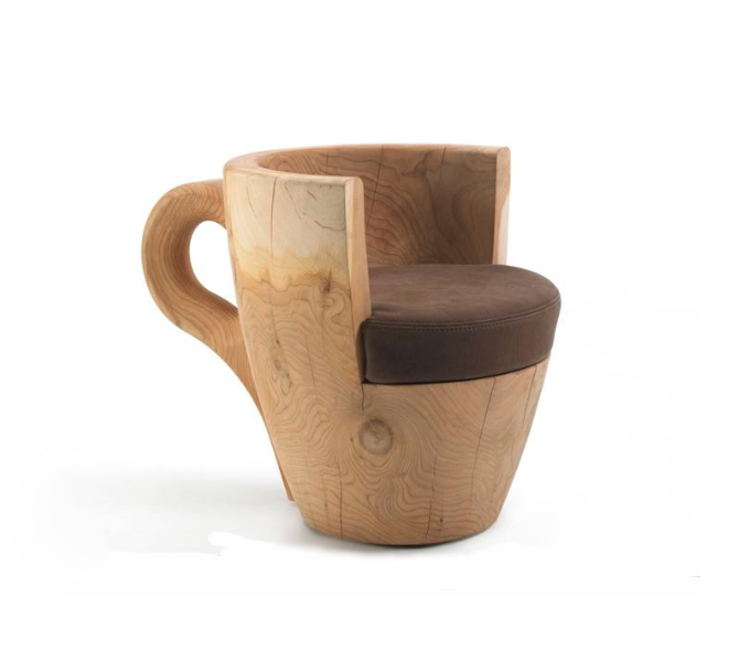 Coffee Cup Arm Chair Has Balance and Body  Captivatist