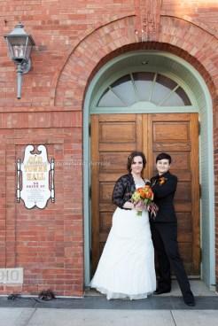 Wedding Bride LGBT Gay Fall kiss