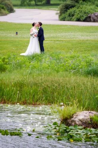 Morton Arboretum Wedding, Bride Groom Kiss Lake