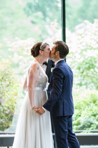 Morton Arboretum Wedding , Bride Groom First Kiss