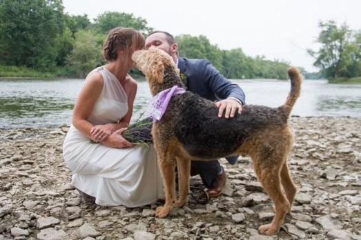River wedding vows bride groom dog