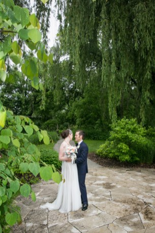 Morton Arboretum Wedding, Bride groom portrait trees