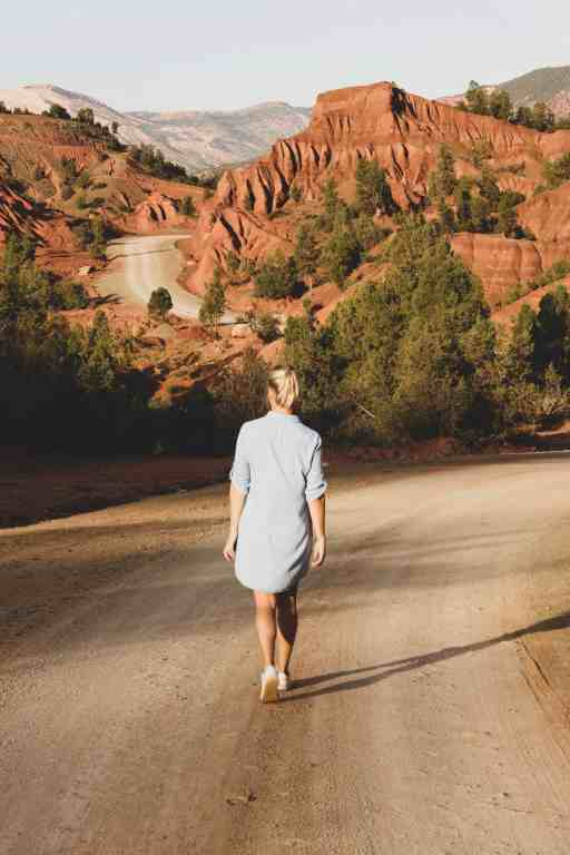 Girl walking in a rusty wild landscape with mountainsin the middle of the road