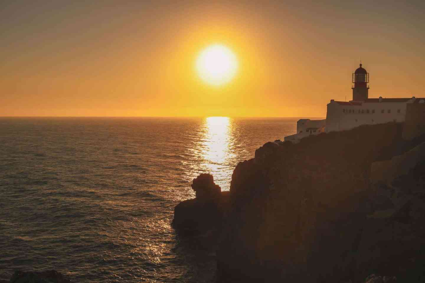 Sunset at cabo de sao vicente in algarve