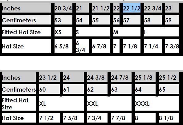 cap size charts wholesale