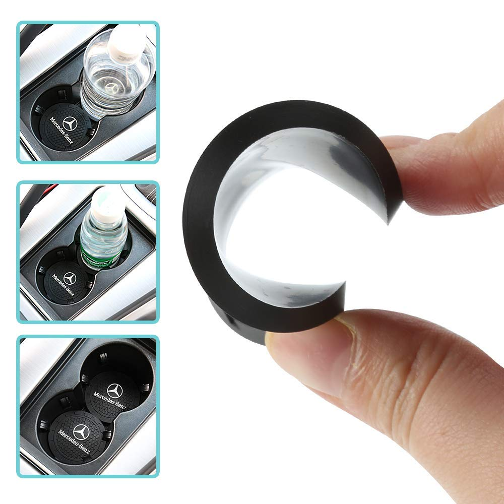 Jeep Auto Sport 2.75 Inch Diameter Oval Tough Car Logo Vehicle Travel Auto Cup Holder Insert Coaster Can 2 Pcs Pack