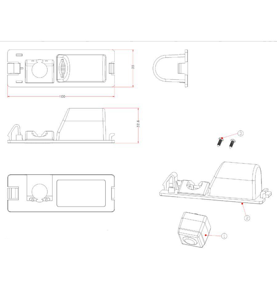 Retrocamera su luce targa con linee guida per FIAT CI-VSC