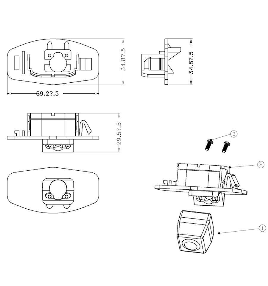 RVC license-plate illumination with guide-lines Honda CI