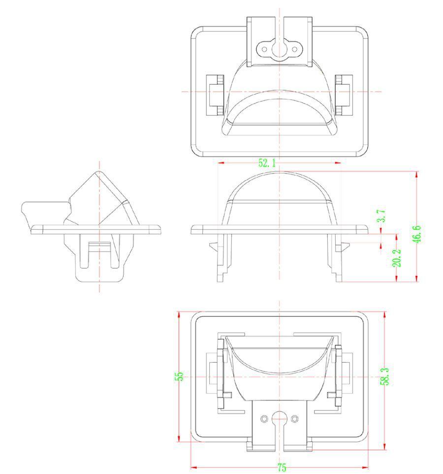 Retrocamera su luce targa linee guida per Mazda CI-VSC-E-MA20