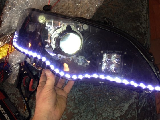 DIY headlights project - tried out a double layer of_8007333604_l