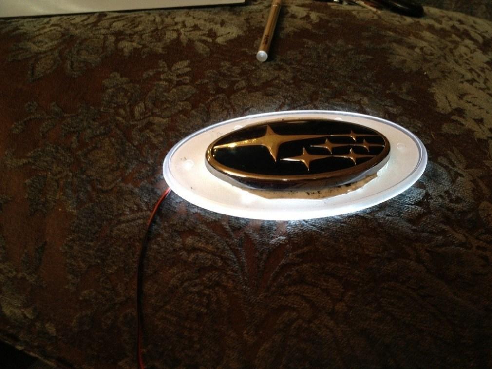 subaru DIY LED badge - indoor testing - emblem comparisons_8072290438_l