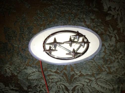 subaru DIY LED badge - indoor testing - emblem comparisons_8072293111_l