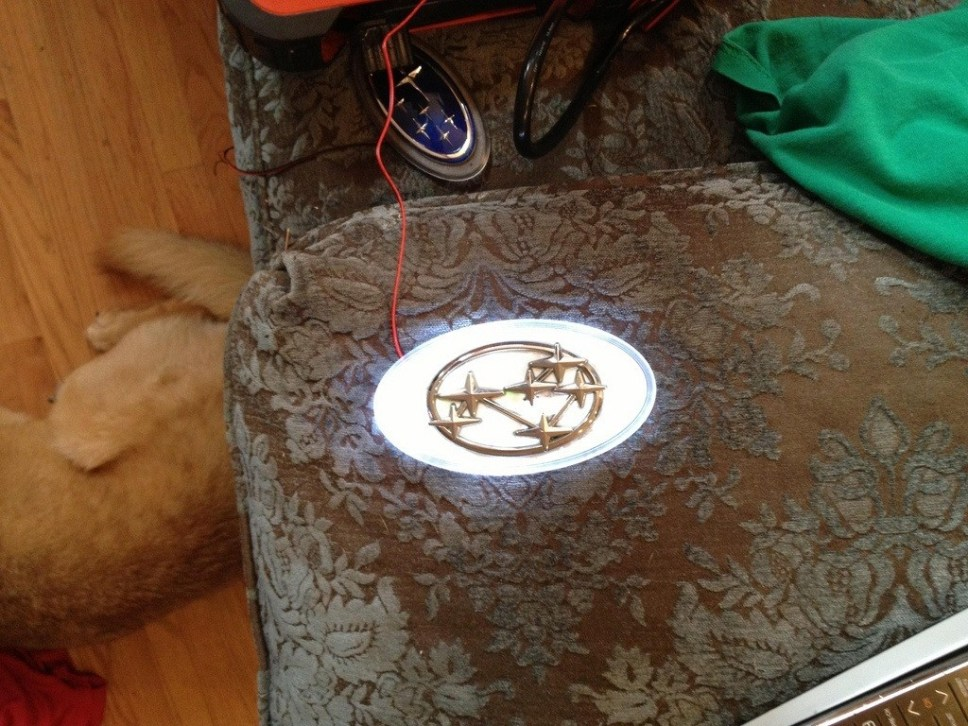 subaru DIY LED badge - indoor testing - emblem comparisons_8072294327_l
