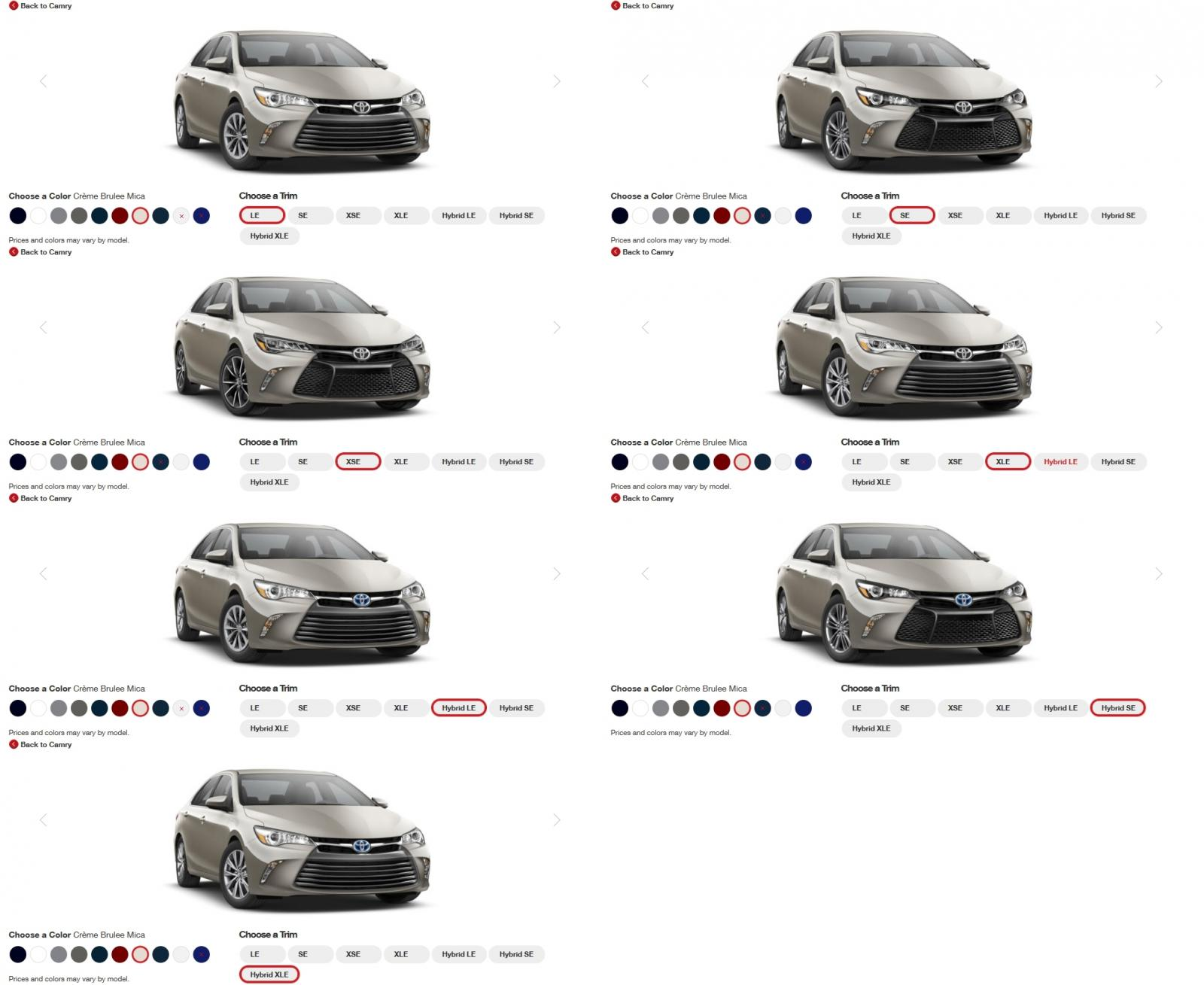 2015 Toyota Camry XSE Colors 1