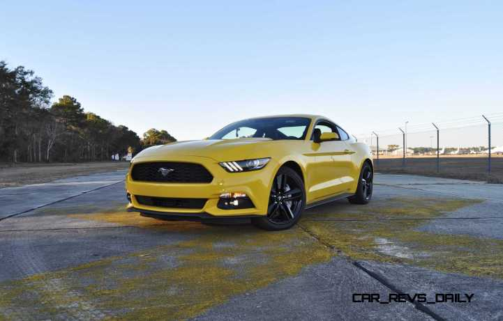 HD Road Test Review - 2015 Ford Mustang EcoBoost in Triple Yellow with Performance Pack 109