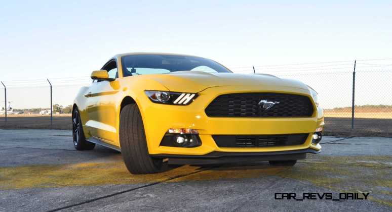 HD Road Test Review - 2015 Ford Mustang EcoBoost in Triple Yellow with Performance Pack 147