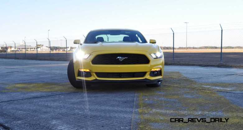 HD Road Test Review - 2015 Ford Mustang EcoBoost in Triple Yellow with Performance Pack 173